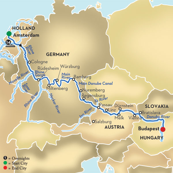 Budapest On Europe Map.Do I Want A Southbound Cruise Between Amsterdam And Budapest