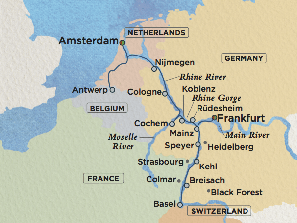 Map Of Rhine River Rhine River Map B |