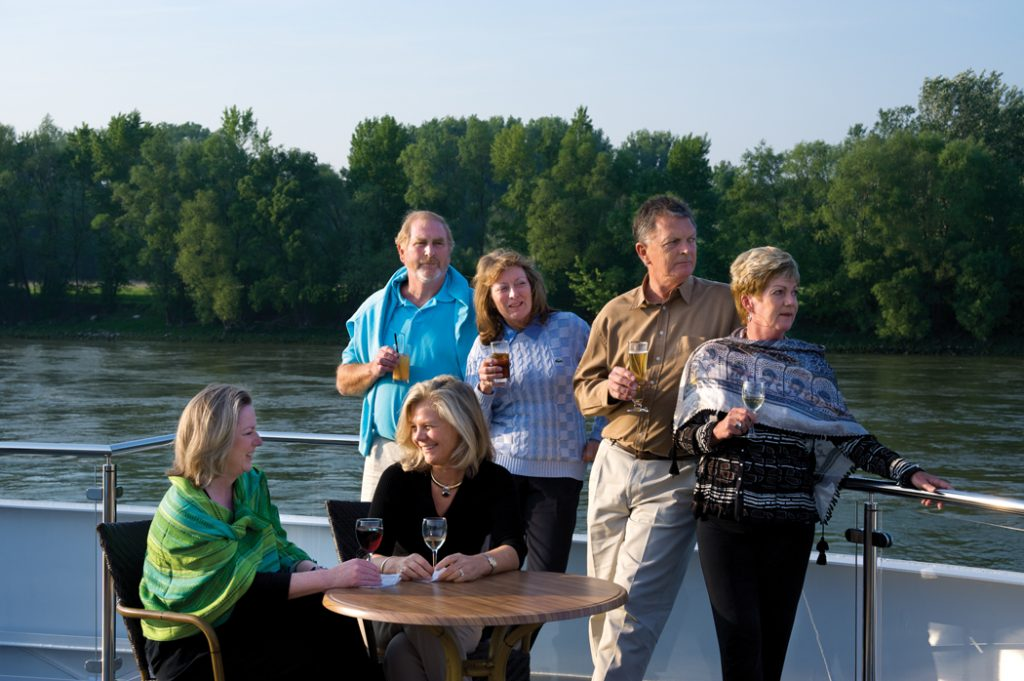 Europe, Germany, Danube River, ms Swiss Jewel, life on board, Sun Deck, Guests: seated: Lisa Engelbrecht, Karen Kalli-Nagy, Standing: Jeff and Julia Wright, Peter and Rae Murphy